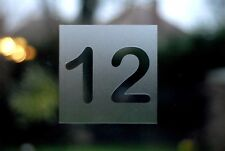 Modern Square House Number Sticker / Decal - Etched glass style - various sizes