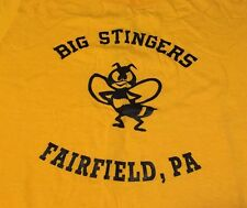 Vintage Big Stingers Fairfield, Pa Yellow 50/50 T Shirt. Size L Made In Usa.
