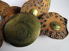 New listing Vintage Vtg 70'S Brown Moroccan Brass Gromet Boho Hippie Belt Engraved Buckle