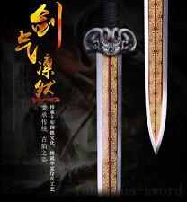 42' FULL TANG BLACK  SAYA 1095 CARBON STEEL BLADE  CHINESE HAN SWORD