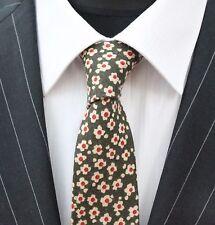 Tie Neck tie Slim Dark Green with Daisy Quality Cotton T6014