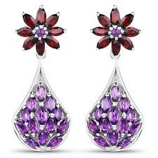 925 Sterling Silver 3.80 ct Genuine Amethyst Garnet Gemstone Dangle Earrings