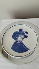 Small delft plate hand painted blue & white 16.5 cm across