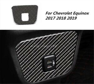 For Chevrolet Equinox 2017-2019 Carbon Fiber Armrest Box USB Panel Frame Trim