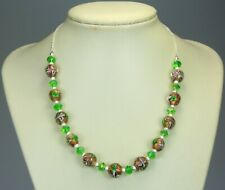 """Bronze encased clear bead emerald green crystal necklace silver balls chain 18"""""""