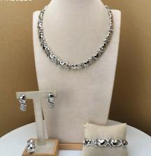 Hugs & Kisses Simple Cz X Heart 14k White Gold Necklace with Bracelet Set #17