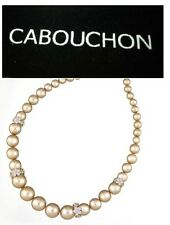 Cabouchon Platinum Plated Pink Flower Hoop Pearl Necklace with Black Velvet Bag