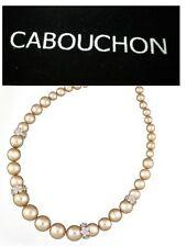 Cabouchon Platino Plateado Rosa Flor Aro Collar De Perlas Con Bolsa De Terciopelo Negro