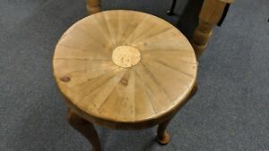 """Three Leg Lord of the Rings Side Table Recycled Legs Bespoke Top 18 1/2"""" Dia"""