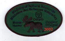 2002 ONTARIO MNR MOOSE HUNTER PATCH-MICHIGAN DNR DEER-BEAR-ELK-CREST-BADGE-FISH