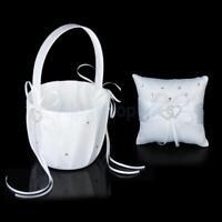"Bridal Crystal Heart Wedding Party Flower Girl Basket + Ring Bearer Pillow 4"" US"