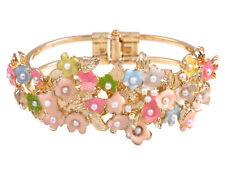 Golden Tone Faux Pearl Detailed Enamel Paint Cluster Flowers Bangle Bracelet