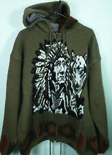 Tejidos Ruminahui Alpaca Wool Sweater Men's Large Wolf & Native American Indian
