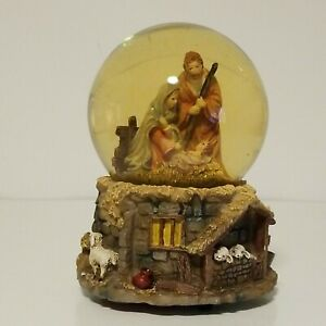 "St. Nicholas Square Musical Snow Globe ""Away In A Manger"" - Nativity Scene"