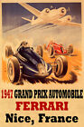 1947 Grand Prix Automobile Ferrari Race Nice France Vintage Poster Repro FREE SH