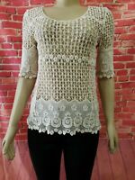 Jennie & Marlis Cute Beige Lace Crochet Short Sleeve Women's Top Sz S? EUC
