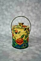 VINTAGE TIN DECORATIVE MADE IN ENGLAND EMBOSSED WATER FLOWER DESIGN MURRAY-ALLEN