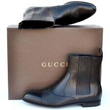 GUCCI New sz UK 13.5 US 14.5 Auth Designer Diamante Mens Ankle Shoes Boots Black