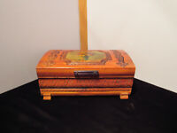 Vintage Wooden Cedar Hand Carved Footed Trinket Box Floral Motif with Mirror