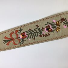 Vintage Leather Belt~Women's~Floral Embroidered~Fringe Tie~Waist~Wide~Boho~S/M