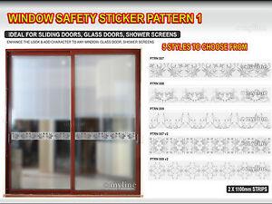 *FROST DOOR WINDOW SAFETY STICKER PATTERN 1.  2x 1.1METRE STRIPS - SELECT STYLE