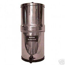 """New British Berkefeld Water Filter System SS w/ Two 7"""" White Ceramic Filters"""