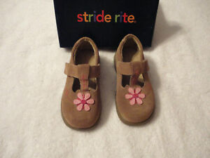 STRIDE RITE SAM TAN/LT PINK TODDLERS SHOES