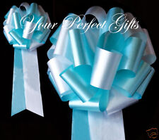 "10 TEAL BLUE WHITE WEDDING 9"" PEW BOW BRIDAL DECORATION"