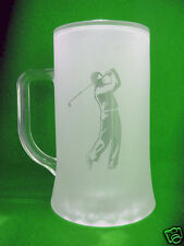 Stein 500ml with a Golfer sand etched on it.