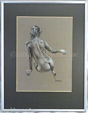 """Signed Original Charcoal Jerry Davidson Artist """"Nude 2"""" Seated Nude Rear View"""