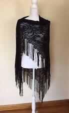 """Cejon Long Black Lace 7"""" Fringe Wrap Shawl Dressy Elegant or Halloween USA Made"""