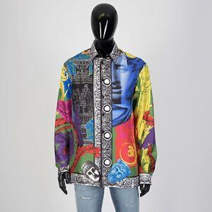 VERSACE 1395$ Magna Grecia Print Shirt In Multi Color Silk