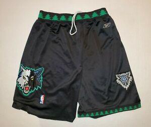 Minnesota Timberwolves Reebok AUTHENTIC NBA Shorts Black Mesh Drawstring Size 36