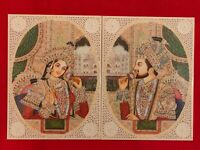 Hand Painted Mughal Shah Jahan and Mumtaz Miniature Painting India Paper Artwork