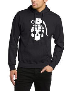 Grenade Skull Hoodie Goth Metal Punisher Cool Rock Print Top Gift Unisex Hoody