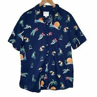 American Eagle Cocktails Palm Tree Hawaiian Beach Button Up Shirt Men's XL