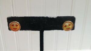 Goldtone Metal Yellow Blushing Emoji Face Disk Stud Post Pierced Earrings