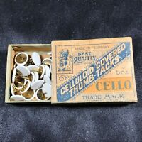 Vintage CELLO Brand Celluloid Covered Thumb-Tacks with Box