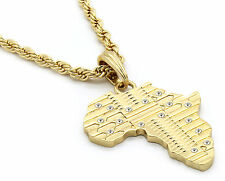 "Mens 14k Gold Plated Africa Continent Small Cz Necklace 24"" 4mm Rope Chain"