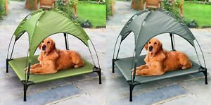 1 x Raised Dog Bed With Canopy Sun Protector Pet Outdoor Waterproof Grey / Green
