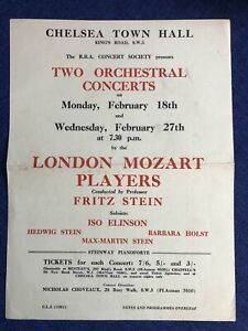 London Mozart Players 1948 Concert Poster Fritz Stein, Iso Elinson, Hedwig Stein