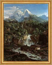 Der Watzmann Ludwig Richter Berge Alpen Wasserfall Gebirge Bütten H A3 0229
