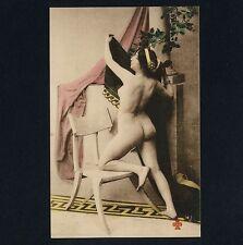 NUDE WOMAN KNEELING on CHAIR / NACKTE FRAU KNIET auf STUHL * Vintage 10s PC