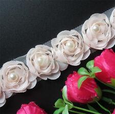 15 Flowers Pearl Lace Edge Trim Wedding Chiffon Ribbon Applique DIY Sewing Craft