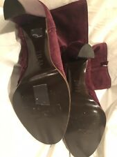 New Philosophy By Alberto Ferretti Suede Dk Purple Burgundy Mid-calf Boots,381/2