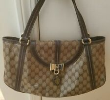 GUCCI Crystal Coated & Leather Monogram Duchessa Bow Flap Brown Shoulder Bag GUC