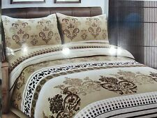KING Quilt cover Jacquard Print Latte Black Quilt Cover Soft Feel Set