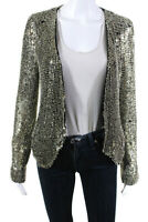 Parker  Womens Beaded Silk Jacket Black Silver Size Medium