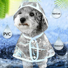 Pet Dog Rain Coat Jacket Transparent Puppy Waterproof Hooded Clothes UK