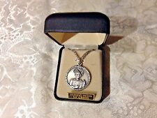 "CREED NEW ""ST. JUDE"" STERLING SILVER Medal  24"" Chain Boxed SS432 Bedazzling!"